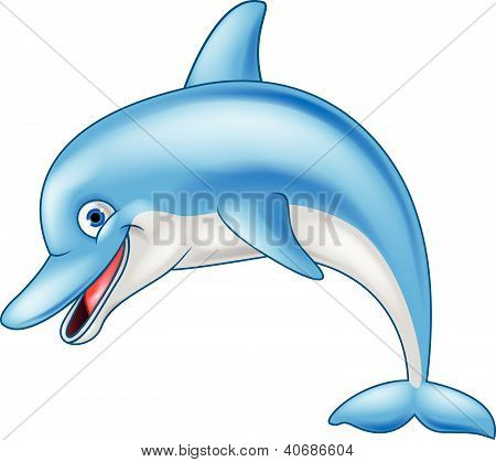 Vector illustration of funny dolphin cartoon character poster