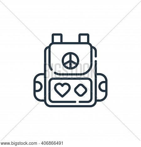 backpack icon isolated on white background from hippies collection. backpack icon thin line outline