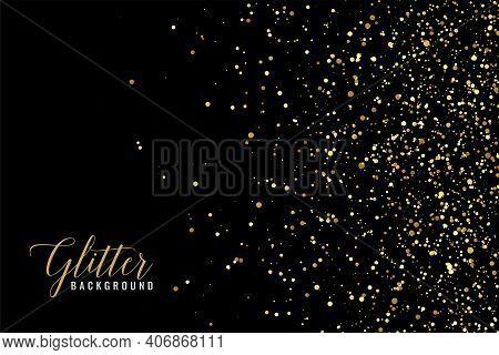 Abstract Golden Glitter Sparkle On Black Background
