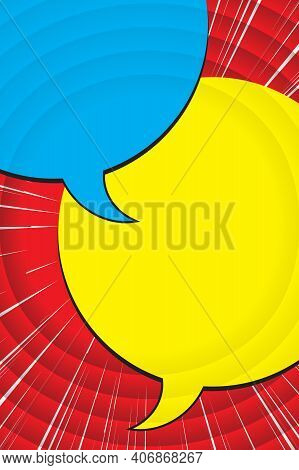 Illustration With Two Speech Bubble. Chat By Interests, Communication In Social Networks, Pastime. T