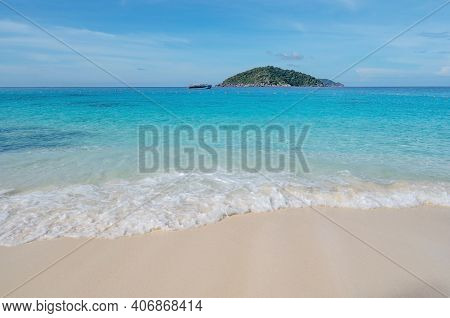 Beautiful Beach And Tropical Sea With Wave Crashing On Sandy Shore Small Island Archipelago At Simil