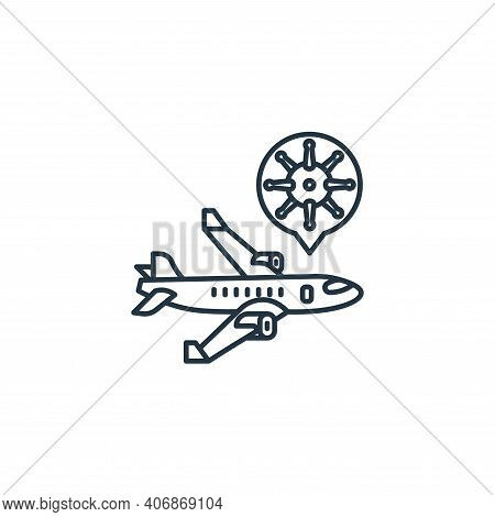 airplane icon isolated on white background from coronavirus collection. airplane icon thin line outl