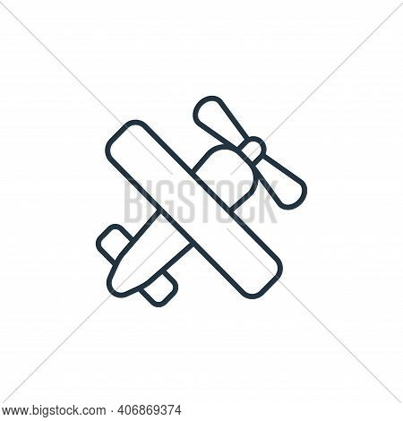 aeroplane icon isolated on white background from retirement collection. aeroplane icon thin line out