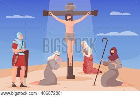 Jesus Christ Crucified On Cross And People On Their Knees Around Him Flat Vector Illustration
