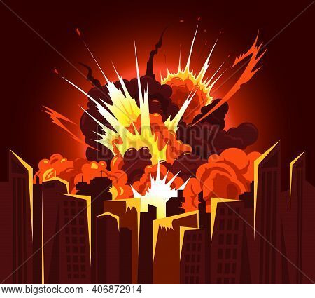 Atomic Bomb Explosion Bang Producing Fiery Debris Clouds With Bright Heat Glow Colors Cityscape Back