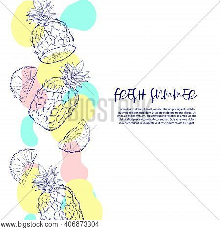 Invitation Or Greeting Card Or Banner Template With Exotic Pineapple, Sketch Style Vector Illustrati