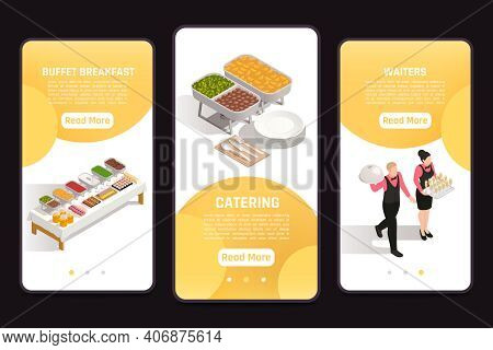 Catering Service Banquets Events Celebrations 3 Isometric Mobile Screen Banners With Buffet Corporat