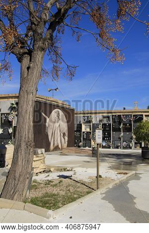 Elche, Spain- January 26, 2021: Old Cemetery In Elche Integrated Into The Route Of The European Sign