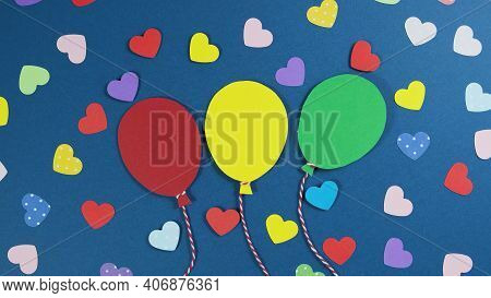 Holiday Abstract Valentine Background With Multicolored Paper Hearts And Balloons. Cutted Paper Ball