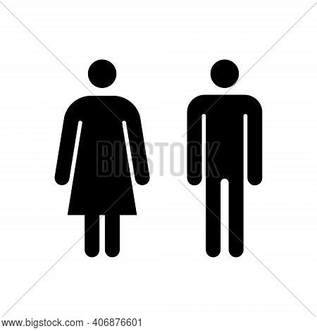 Man And Woman Icon. Vector Toilet Symbol Isolated. Male And Female Sign For Restroom. Girl And Boy W