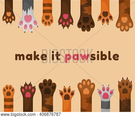 Cats And Dogs Paws Cartoon Background. Animals Feet With Claws And Pads. Adopting Pet.