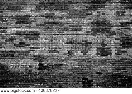 Black Brick Wall Background, Brickwall Texture Aging Effect. Grunge Rusty Brick Wall As Brickwork Ba