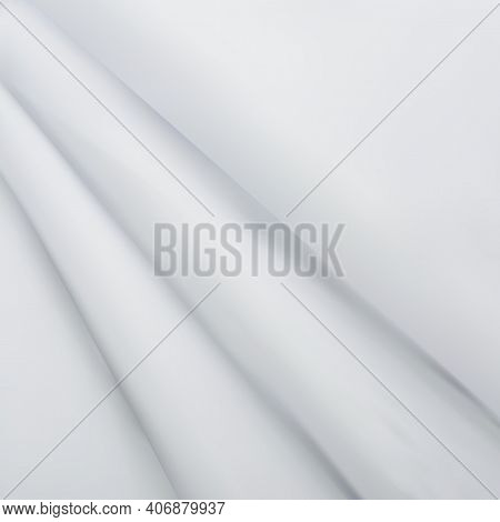 Abstract White Satin Silky Cloth, Fabric Textile Drape With Crease Wavy Folds.with Soft Waves, Wavin