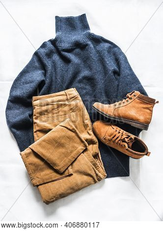 Women's Clothing Set Autumn Winter - Cashmere Blue Sweater, Brown Corduroy Jeans, Suede Shoes On A L