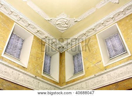Stucco On The Ceiling Of Historic Building