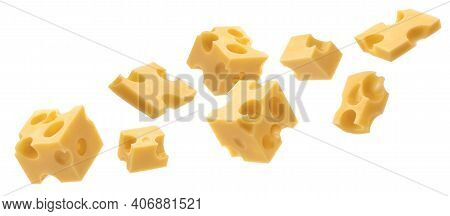 Cheese Cubes, Pieces Of Swiss Emmental Isolated On White Background