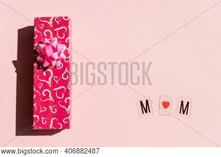 Greeting Card For Mothers Day On Pink Background. I Love Mother, Mum Text, Holiday Concept.love, Hap