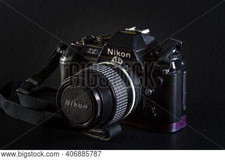 Israel. Rishon Lezion 02.06.2021. Film Camera Nikon N2020 On A Black Background.