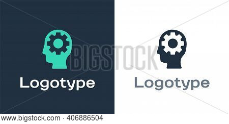Logotype Human Head With Gear Inside Icon Isolated On White Background. Artificial Intelligence. Thi
