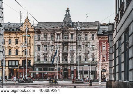 Zagreb, Croatia - Aug 10, 2020: Jelacic City Square At Sunset Hour