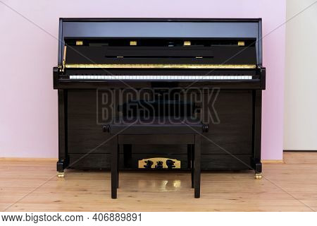 A Brand New Piano In The Classroom. Piano Training Class. Music Class Interior Element. The System O