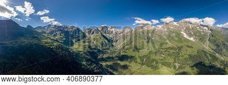 Panoramic Aerial View Of Grossglockner Valley Along Taxenbacher Fusch High Alpine Road In Austria Ti