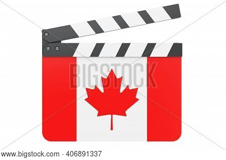 Movie Clapperboard With Canadian Flag, Film Industry Concept. 3d Rendering Isolated On White Backgro