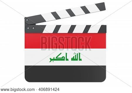Movie Clapperboard With Iraqi Flag, Film Industry Concept. 3d Rendering Isolated On White Background