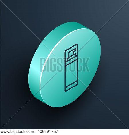 Isometric Line Shaving Gel Foam Icon Isolated On Black Background. Shaving Cream. Turquoise Circle B