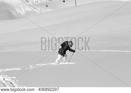 Little Skier On Snowy Off-piste Slope With New Fallen Snow At Sun Winter Day After Snowfall. Caucasu