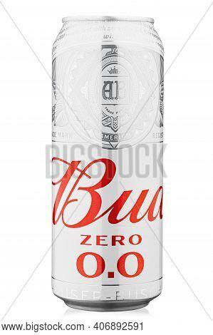 Kyiv, Ukraine - December 22, 2020: Aluminium Can Of Beer Bud Non-alcoholic, On White Background Prod