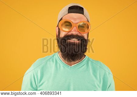 Fun And Entertainment. Casual Hipster Outfit. Funny Man Having Fun. Bearded Guy In Party Glasses. Ju