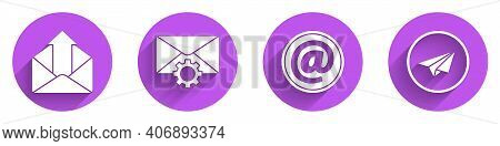 Set Outgoing Mail, Envelope Setting, Mail And E-mail And Paper Plane Icon With Long Shadow. Vector