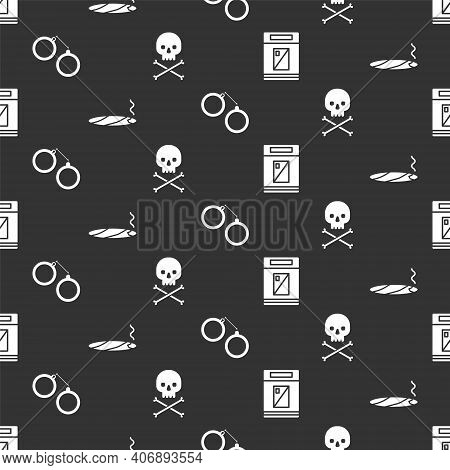 Set Cigarettes Pack Box, Cigar With Smoke, Handcuffs And Skull On Crossbones On Seamless Pattern. Ve