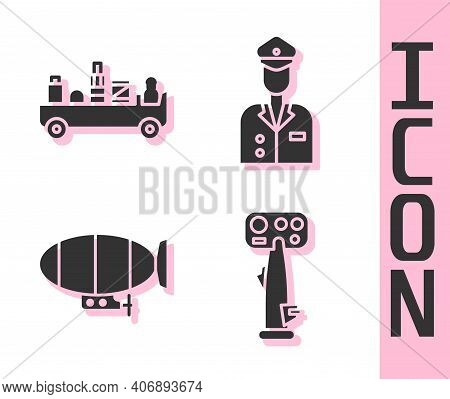 Set Aircraft Steering Helm, Airport Luggage Towing Truck, Airship And Pilot Icon. Vector