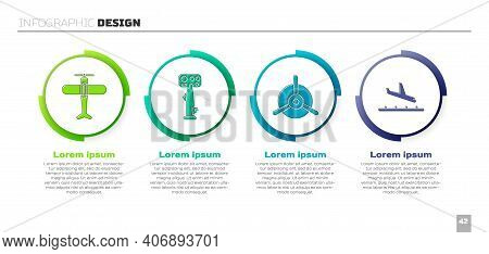 Set Plane, Aircraft Steering Helm, Plane Propeller And Plane Landing. Business Infographic Template.
