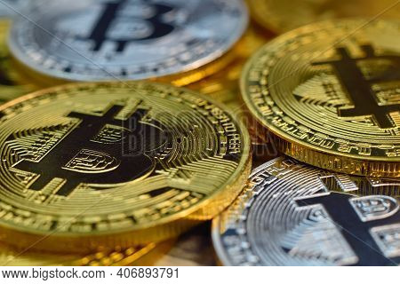 Golden And Silver Bitcoin Cryptocurrency Money. Cryptocurrency And Payment Concept. Close Up