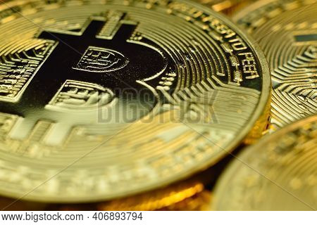 Golden Cryptocurrencys Bitcoin Coins. Virtual Money And Cryptocurrency Concept. Close Up