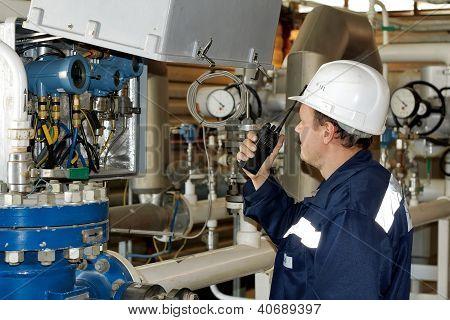 Technician talking on wireless