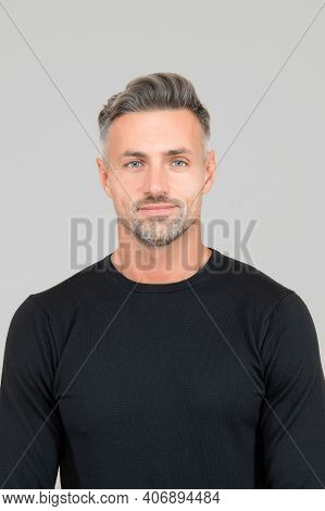 I Am Just Man. Facial Care And Ageing. Attractive Mature Man. Mature Guy With Grey Hair And Bristle.