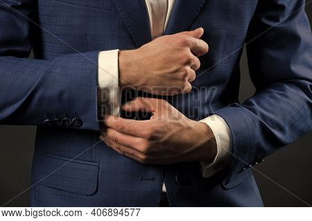 Perfect To Last Detail. Getting Dressed. Formal Suit Shirt And Cuffs. Wearing Formal Style. Fashion