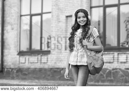 Travel Listening Exercises. Happy Child Carry Backpack Outdoors. Travel Vocabulary. English School.