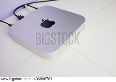 Mainz, Germany - February 6, 2021: The Latest Apple Mac Mini 2020 With The New M1 Chip On A White De
