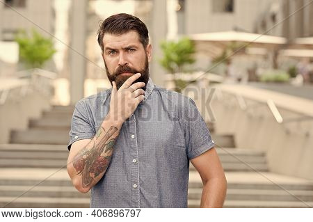 My Beard My Look. Bearded Man Touch Beard Urban Outdoor. Hipster Wear Unshaven Beard And Mustache. B