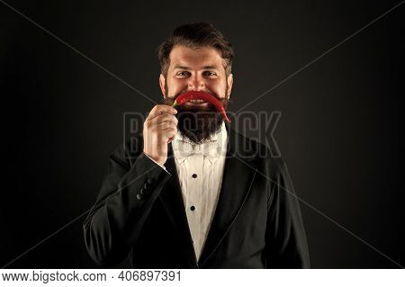 Just Have Fun. Ruthless And Strong In Business. Cheerful Businessman Has Funny Red Pepper Moustache.