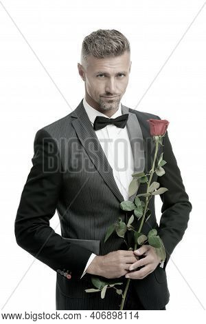 Make Good First Impression. Valentines Day And Anniversary. Romantic Gentleman. Man Mature Confident