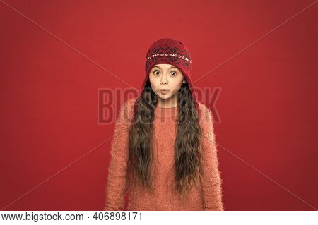 Its Cold Outside. Winter Outfit. Cute Model Enjoy Winter Style. Little Kid Wear Knitted Hat. Stay Wa