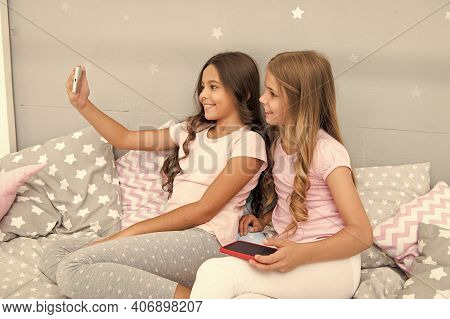Blogging From Home. Little Bloggers Take Selfie For Blog. Keeping Real Time Live Blog. Making New Bl