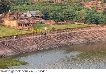 Badami, Karnataka, India - November 7, 2013: Brown Stone Hondadkatte Hanuman Temple On Nw-shore Of A