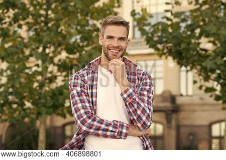 Cool About Being Scruffy. Unshaven Guy Smile Urban Outdoor. Happy Man With Unshaven Face. Bachelor I